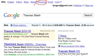 I searched for Traxxas Slash; these are web results (and an ad.) To use Base, I'll click the link I've circled at the top in red.